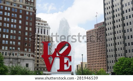 PHILADELPHIA, PA, USA - MAY 10: The Love Park named after the Love statue in Philadelphia, on May 10, 2015. The park is nicknamed for Robert Indiana's Love sculpture that was first placed in 1976. - stock photo