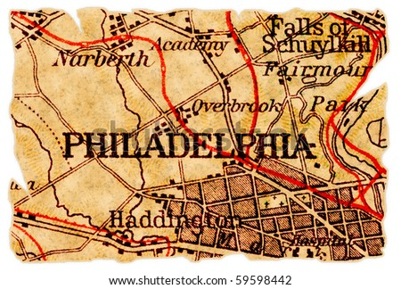 Philadelphia, Pennsylvania on an old torn map from 1949, isolated. Part of the old map series.