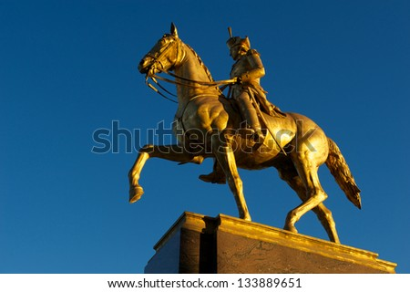 PHILADELPHIA, PENNSYLVANIA/USA - MARCH 9:  Iconic statue of Anthony Wayne, a US army General in the Revolutionary War from the eve before the St. Patrick's Day Parade March 9, 2013 Philadelphia, PA. - stock photo