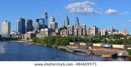 Philadelphia, PN, USA - July 5, 2013: The skyline of downtown Philadelphia, Pennsylvania, overlooking the Schuylkill River.