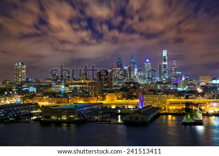 Philadelphia skyline at night, US - stock photo