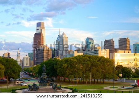 Philadelphia skyline at sunset, PA, USA - stock photo