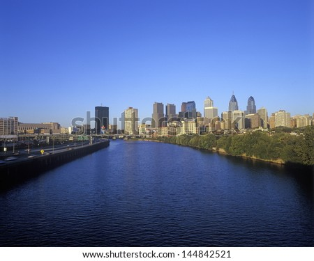 Philadelphia skyline from the Schuylkill River, PA - stock photo