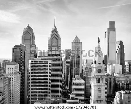 philadelphia skyline in black and white - stock photo