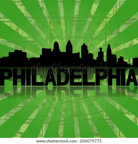 Philadelphia skyline reflected with green dollars sunburst illustration