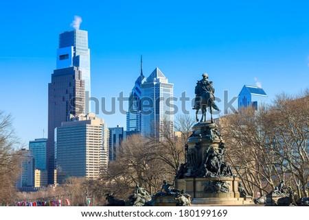 Philadelphia skyline, taken from the art museum - stock photo