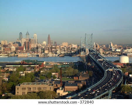 Philadelphia Skyline with Ben Franklin Bridge - stock photo