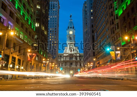 Philadelphia streets with traffic at night - stock photo
