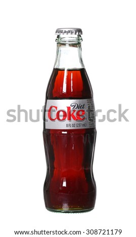 PHILADELPHIA, USA - AUGUST 22, 2015: Coca-Cola Diet glass bottles. A reduced calorie soft drink Isolated On White Background. - stock photo