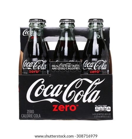 PHILADELPHIA, USA - AUGUST 22, 2015: 6 pack of Coca-Cola Zero glass bottles. A reduced calorie soft drink Isolated On White Background. - stock photo