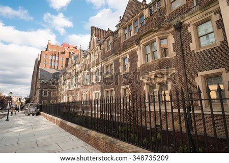 Philadelphia, USA - Dec. 3rd, 2015: University of Pennsylvania Campus scene at the Quadrangle