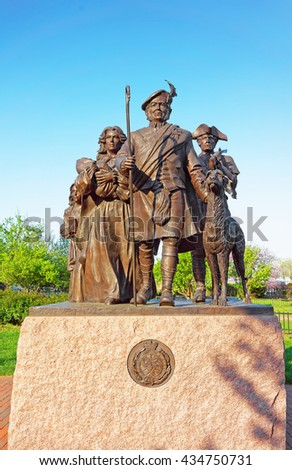 Philadelphia, USA - May 4, 2015: Monument to Scottish Immigrants at Penns Landing in Philadelphia, Pennsylvania, the USA. - stock photo