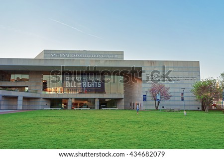 Philadelphia, USA - May 5, 2015: National Constitution Center in Philadelphia, Pennsylvania, the USA. It is placed on the Independence Mall. - stock photo