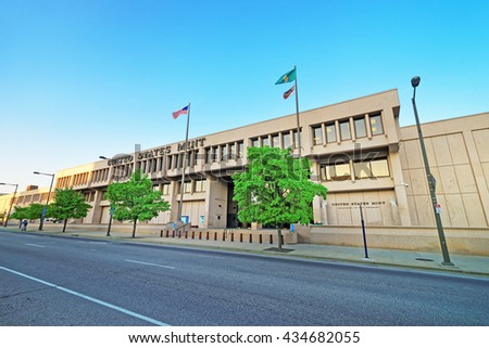 Philadelphia, USA - May 5, 2015: United States Mint Building of Philadelphia PA, Pennsylvania, the USA - stock photo