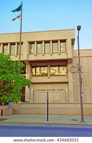 Philadelphia, USA  - May 5, 2015: United States Mint Building of Philadelphia PA, Pennsylvania, USA - stock photo