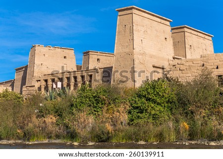 Philae Temple of Isis located on Agilkia Island in the reservoir of old Aswan Dam, Egypt - stock photo
