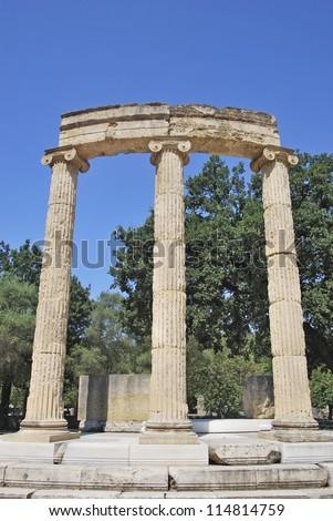 Philippeion, athenian monument in the Altis of Olympia. Katakolon, Greece - stock photo