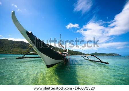 Philippine boat around the islands in El Nido. Philippines. - stock photo