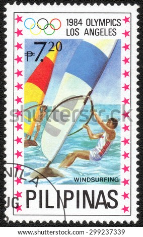 """PHILIPPINES - CIRCA 1984: a stamp printed in Philippines shows a series of images """"The Olympic Games in Los Angeles in 1984"""", circa 1984 - stock photo"""