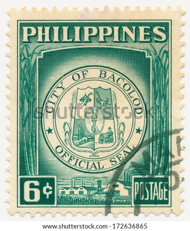 PHILIPPINES - CIRCA 1959: A stamp printed in Philippines, shows Arms of city Bacolod, circa 1959