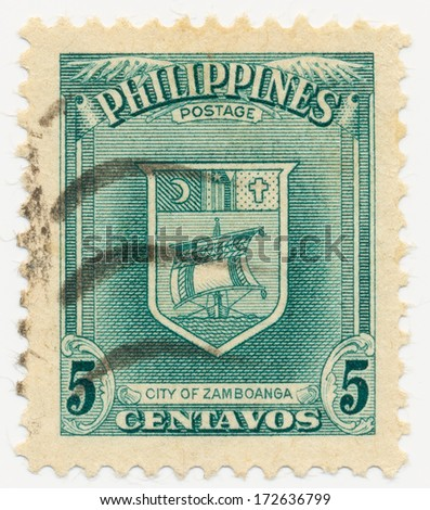 PHILIPPINES - CIRCA 1951: A stamp printed in Philippines, shows Arms of Zamboanga, circa 1951
