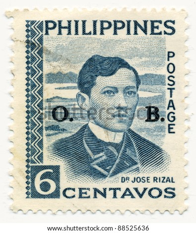 PHILIPPINES - CIRCA 1959: A stamp printed in Philippines, shows portrait of Jose Rizal, circa 1959