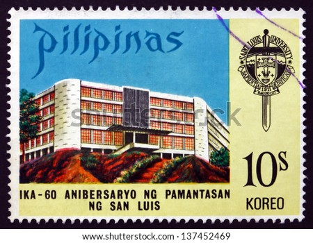 PHILIPPINES - CIRCA 1973: a stamp printed in Philippines shows San Luis University, 60th Anniversary of San Luis University, Baguio City, Luzon, circa 1973