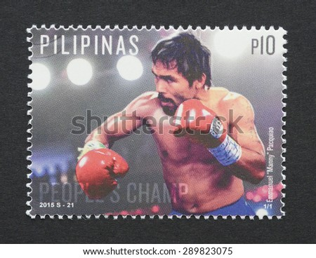 PHILIPPINES - CIRCA 2015: postage stamp printed in Philippines  showing an image of boxer Emmanuel Manny Pacquiao, circa 2015.  - stock photo
