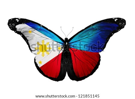 Philippines flag butterfly, isolated on white background - stock photo