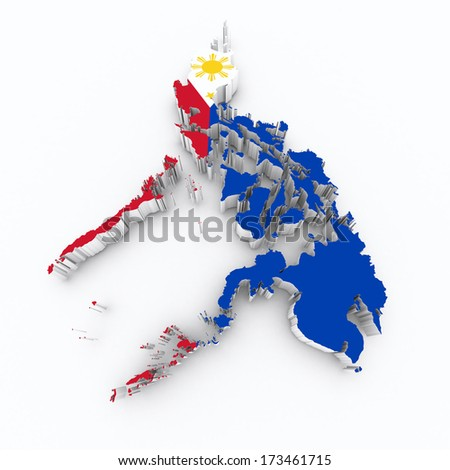 Philippines flag on 3d map - stock photo