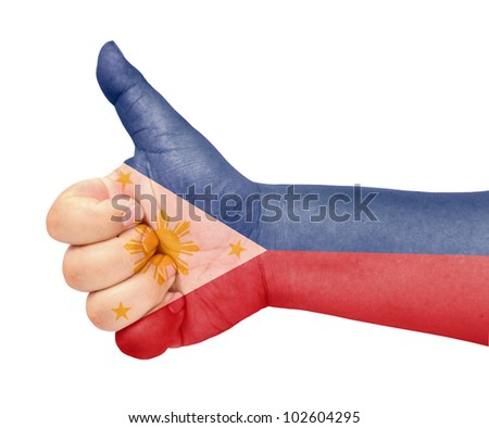 Philippines flag on thumb up gesture like icon - stock photo