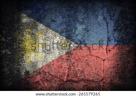 Philippines flag pattern on dirty old concrete wall texture ,retro vintage style - stock photo
