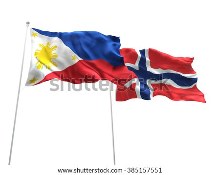 Philippines & Norway Flags are waving on the isolated white background - stock photo