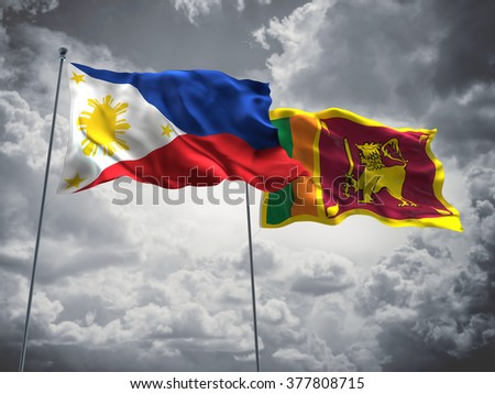 Philippines & Sri Lanka Flags are waving in the sky with dark clouds