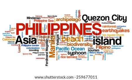Philippines tag cloud illustration. Country word collage.