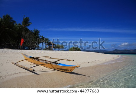 Philippines traditional boat on a beach - stock photo