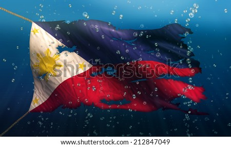 Philippines Under Water Sea Flag National Torn Bubble 3D - stock photo