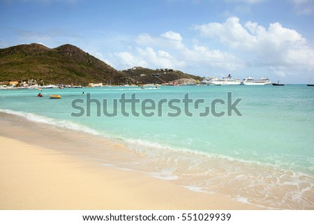 Philipsburg beach with cruise ships in the distance, St Maarten, Caribbean.