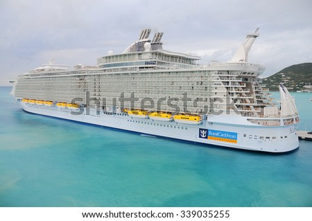 PHILIPSBURG, ST. MAARTEN Jan 14, 2011: Royal Caribbean, Allure of the Seas docked. It's the largest passenger ship ever built, just 2.0 in. longer the Oasis of the Seas  - stock photo
