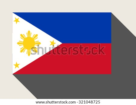 Phillipines flag in flat web design style. - stock photo