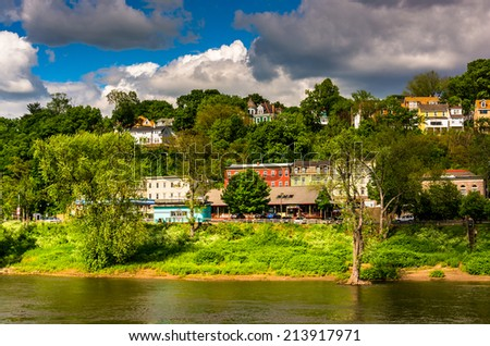 Phillipsburg, New Jersey, seen across the Delaware River from Easton, Pennsylvania. - stock photo