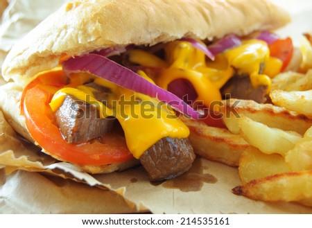 Philly cheese steak sandwich - stock photo