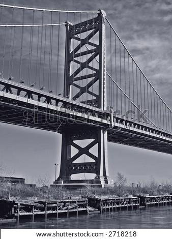 Philly's Ben Franklin Bridge - stock photo