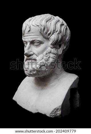 Philosopher Aristotle Sculpture Isolated on Black Background - stock photo