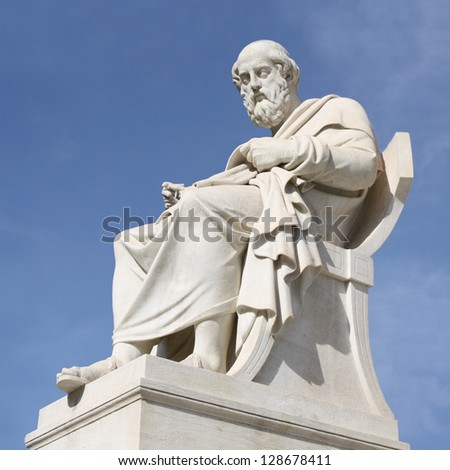 Philosopher Plato (nineteenth century neoclassical statue) outside Academy of Arts of Athens in Greece. - stock photo