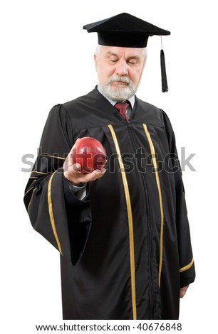 Philosopher with red apple on white background (isolated). - stock photo
