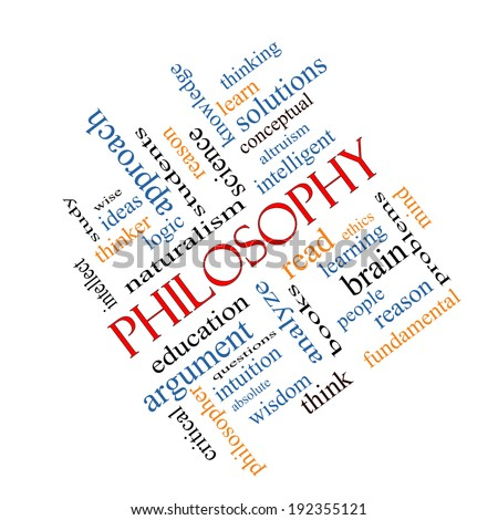 Philosophy Word Cloud Concept angled with great terms such as education, study, thinker and more. - stock photo