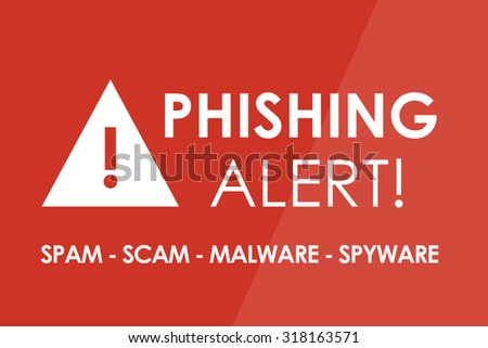 PHISHING Alert concept - white letters and triangle with exclamation mark - stock photo