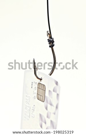 phishing - fish hook with a credit card - stock photo
