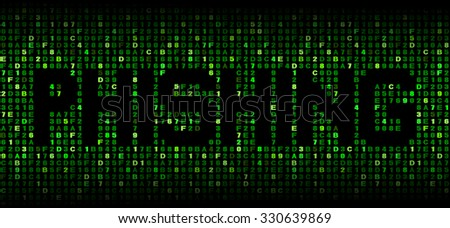 Phishing text on hex code illustration - stock photo